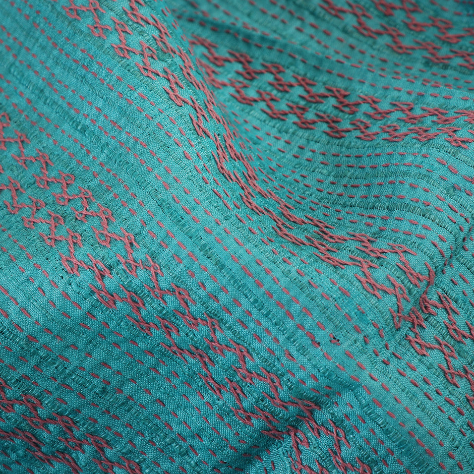 Kanakavalli Kantha Raw Silk Blouse Length 400-06-24646 - Fabric View