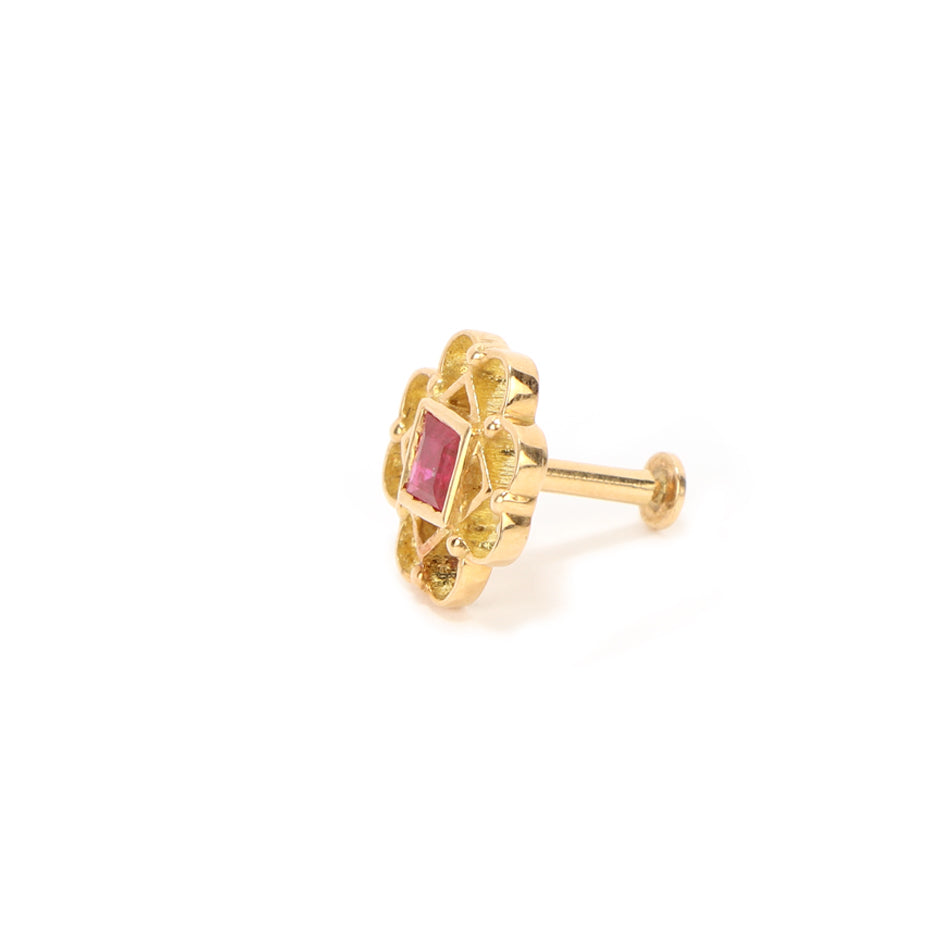 Ahalya Gold Ruby Nosepin 8_4793 - Screw View