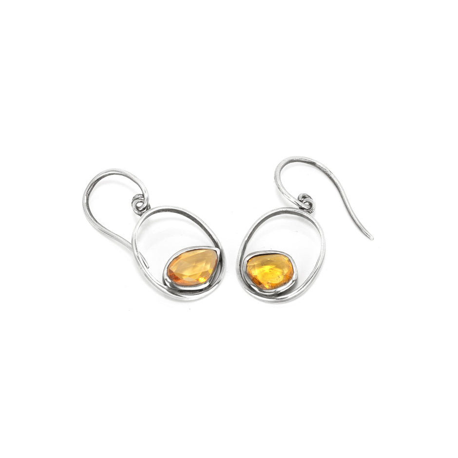 Ahalya Silver & Orange Sapphire Earring 13_2500 - Full View