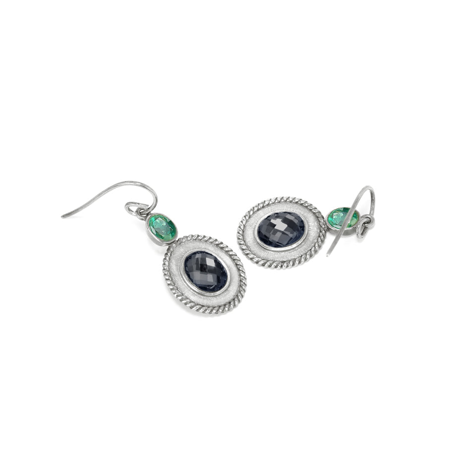 Ahalya Silver White Quartz/Hematite & Emerald Cut Earring 13_2406 - Full View
