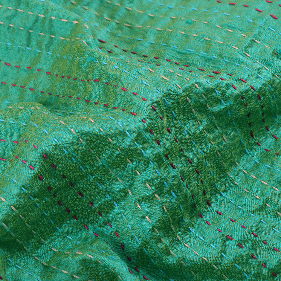 Kanakavalli Kantha Raw Silk Blouse Length 150-06-12043 - Fabric View