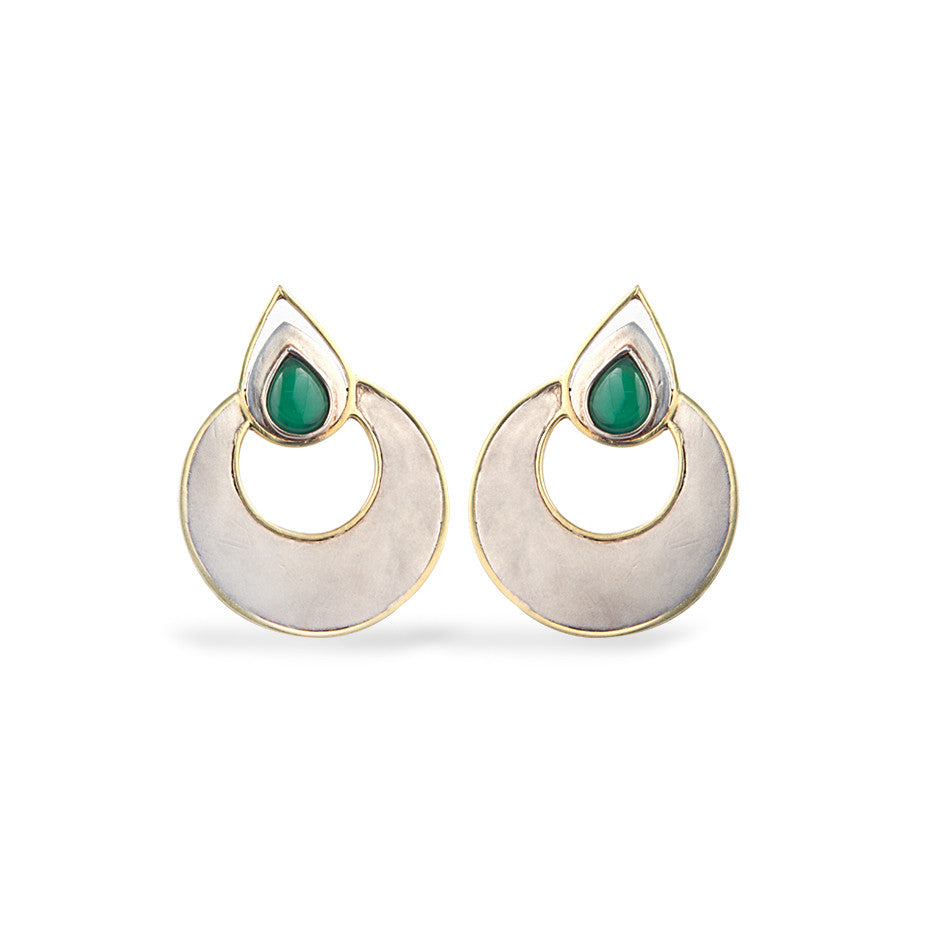 Ahalya Silver, Gold & Green Onyx Earrings 0207060016A1 - Cover View