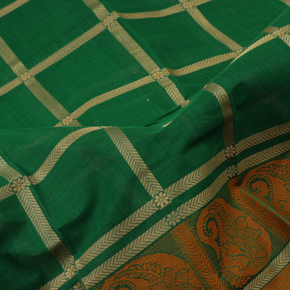 Kanakavalli Kanchi Cotton Sari 071-09-41774 - Fabric View