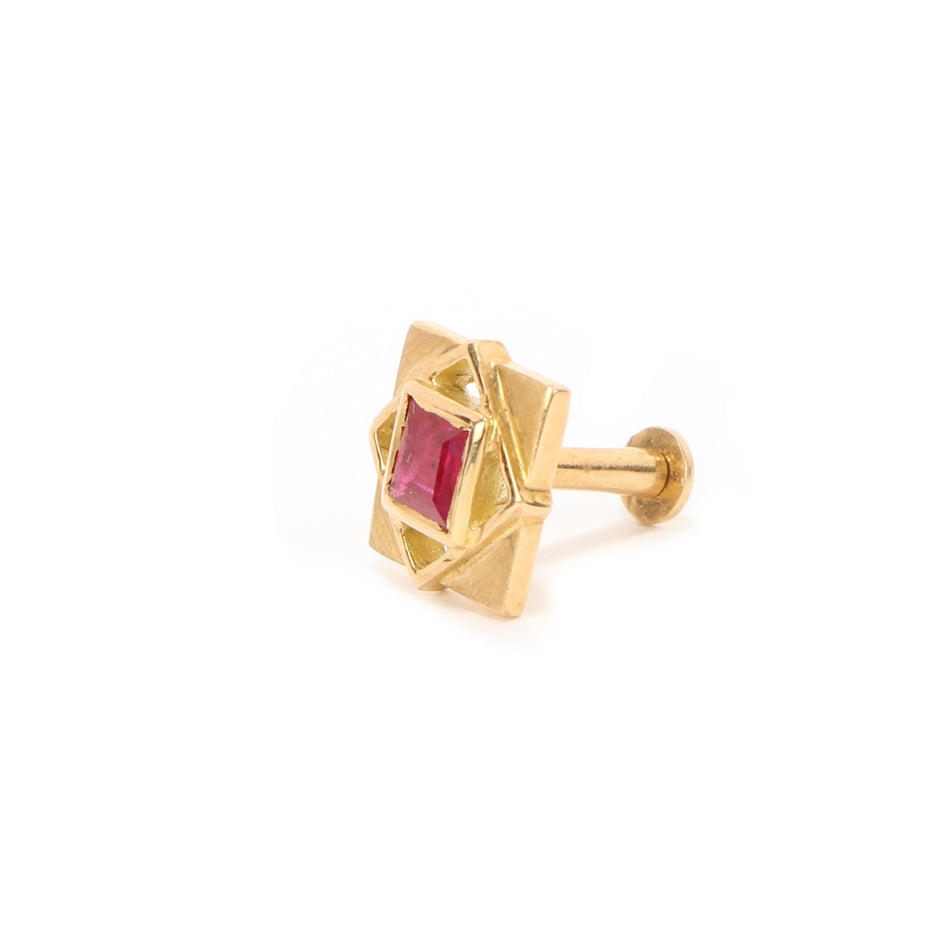 Ahalya Gold Ruby Nosepin 8_4789 - Screw View