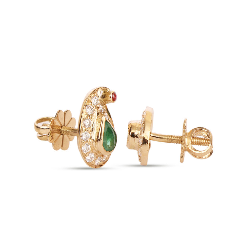 Ahalya Gold, Diamond & Precious Gems Earrings 3_4951 - Screw View