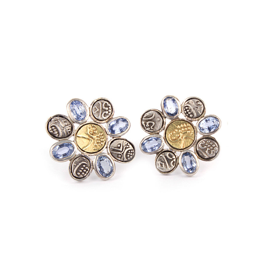 Ahalya Silver Coin, Gold Coin & Blue Sapphire Earrings 0207060003A1 - Cover View