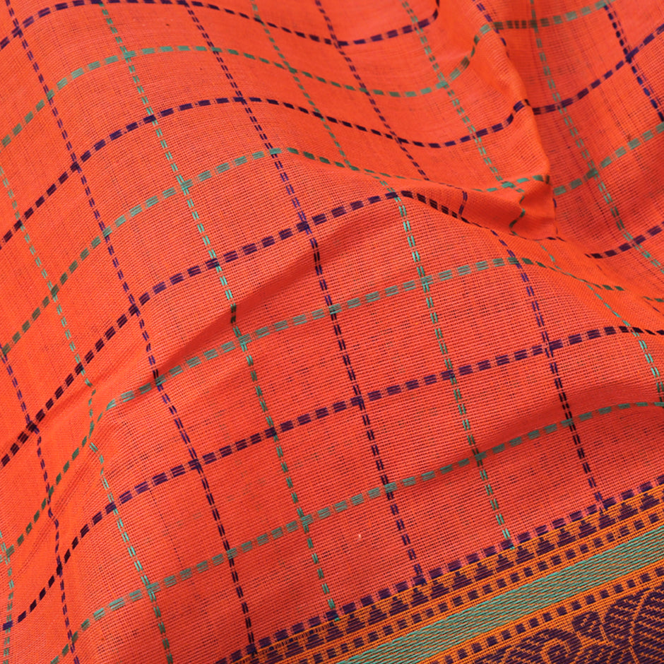 Kanakavalli Kanchi Cotton Sari 071-09-74140 - Fabric View