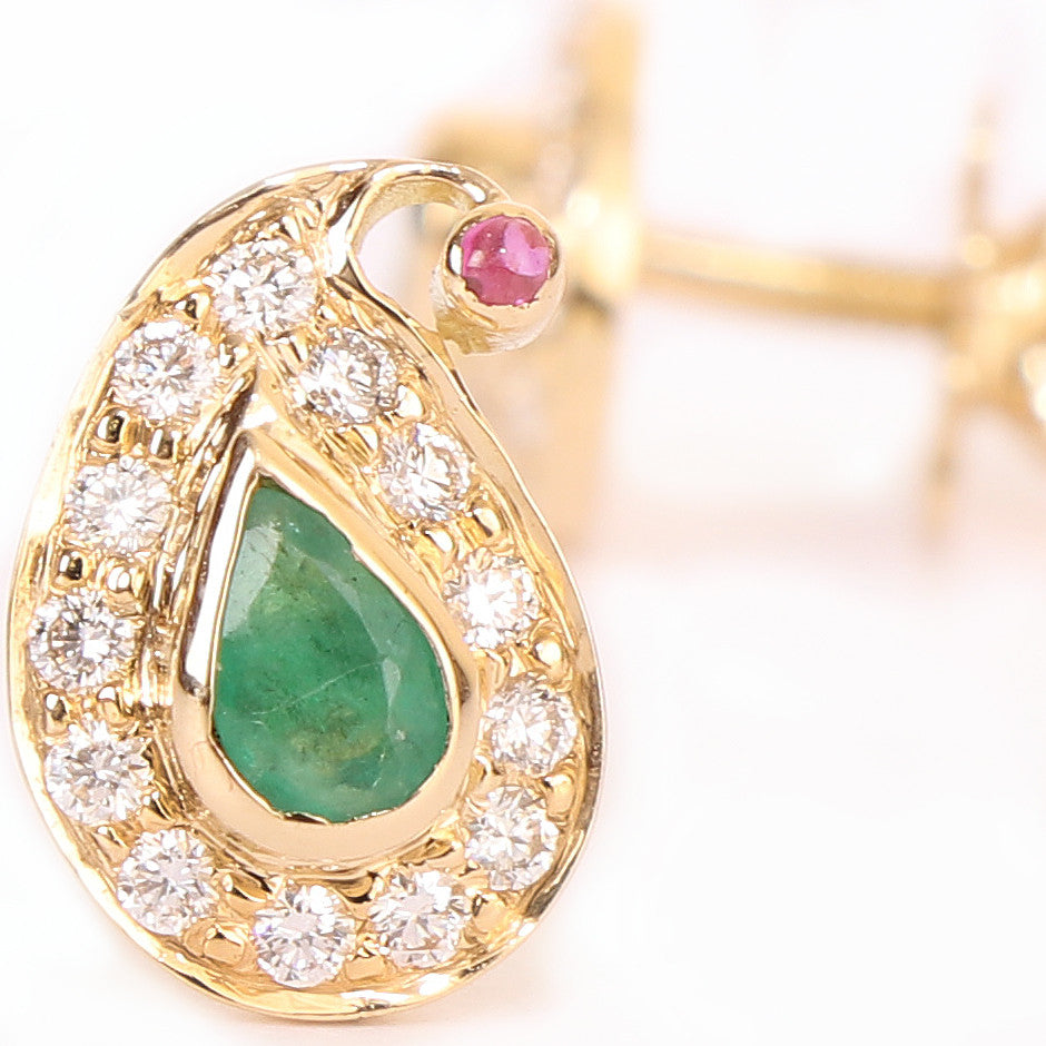 Ahalya Gold, Diamond & Precious Gems Earrings 3_4951 - Detailed View