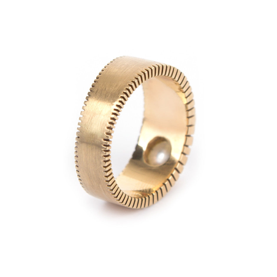 Ahalya Gold, Silver Coin & Keshi Pearl Finger Ring 0208080002A1 - Back View