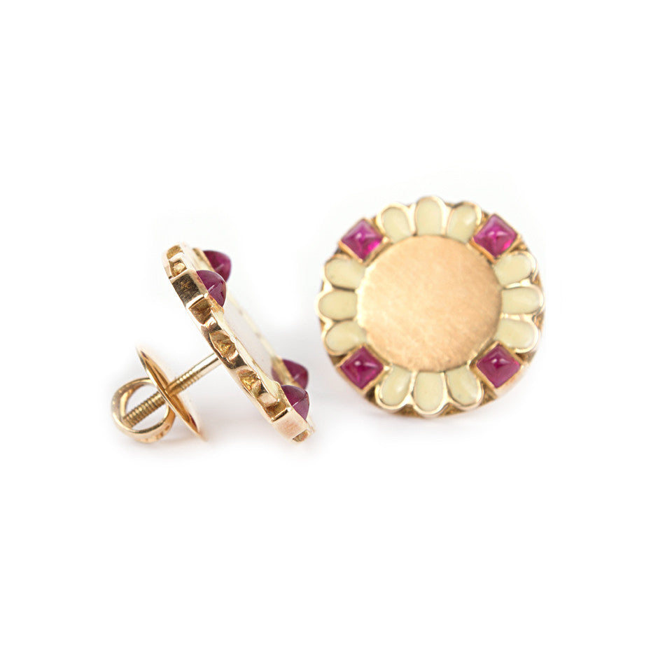 Ahalya Gold, Ruby Cob & Enamel Earrings 0208060024A1 - Screw View