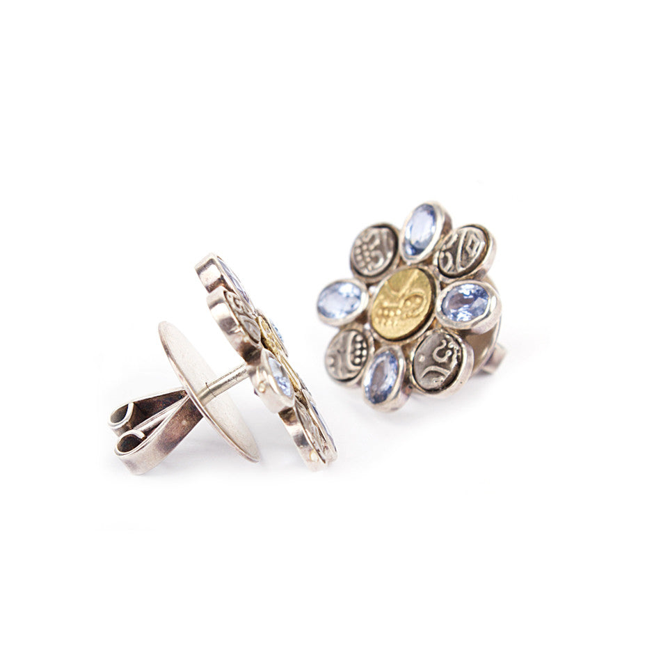 Ahalya Silver Coin, Gold Coin & Blue Sapphire Earrings 0207060003A1 - Screw View