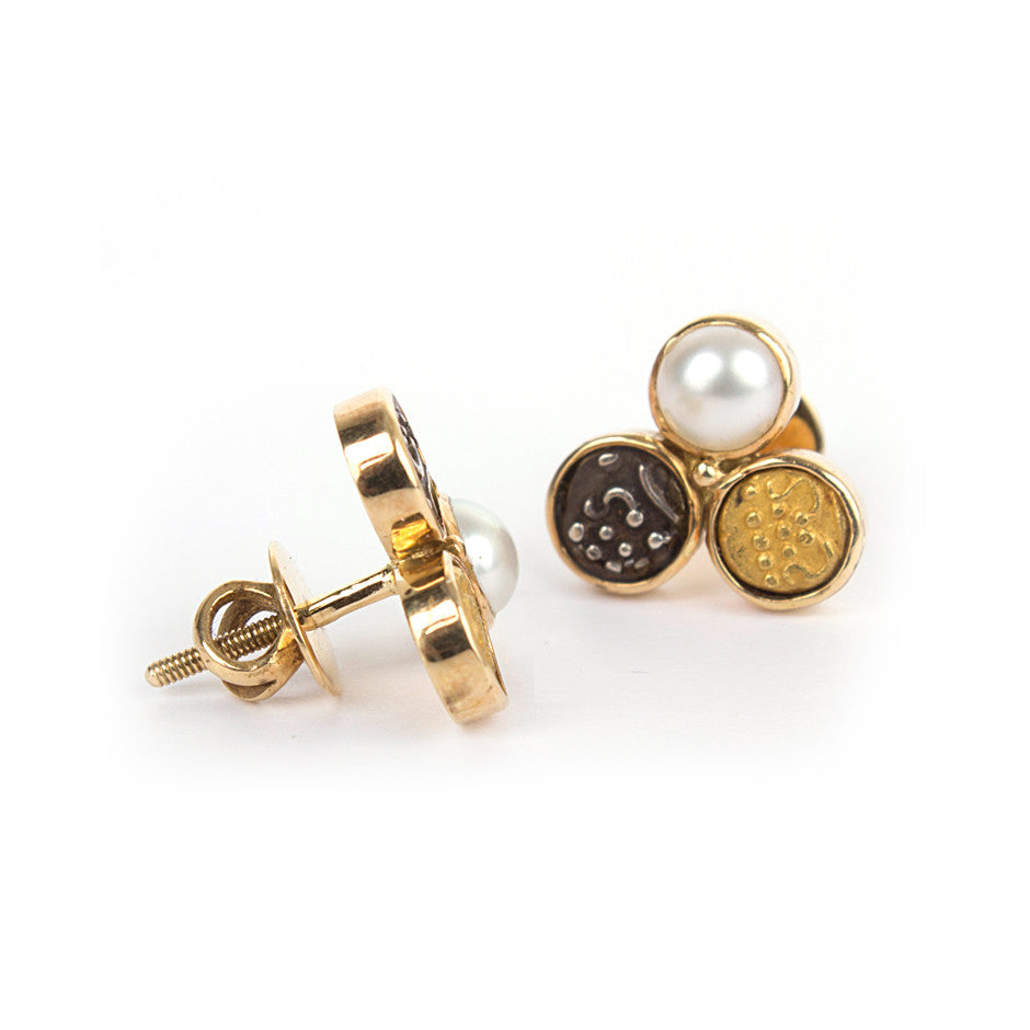 Ahalya Gold, Silver coin, Gold Coin & Keshi Pearl Earrings 0208060019A1 - Screw View