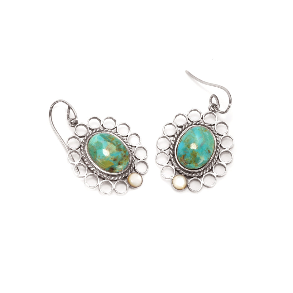 Ahalya Silver Mop Round &  Turquoise Earring 13_2648 - Full View