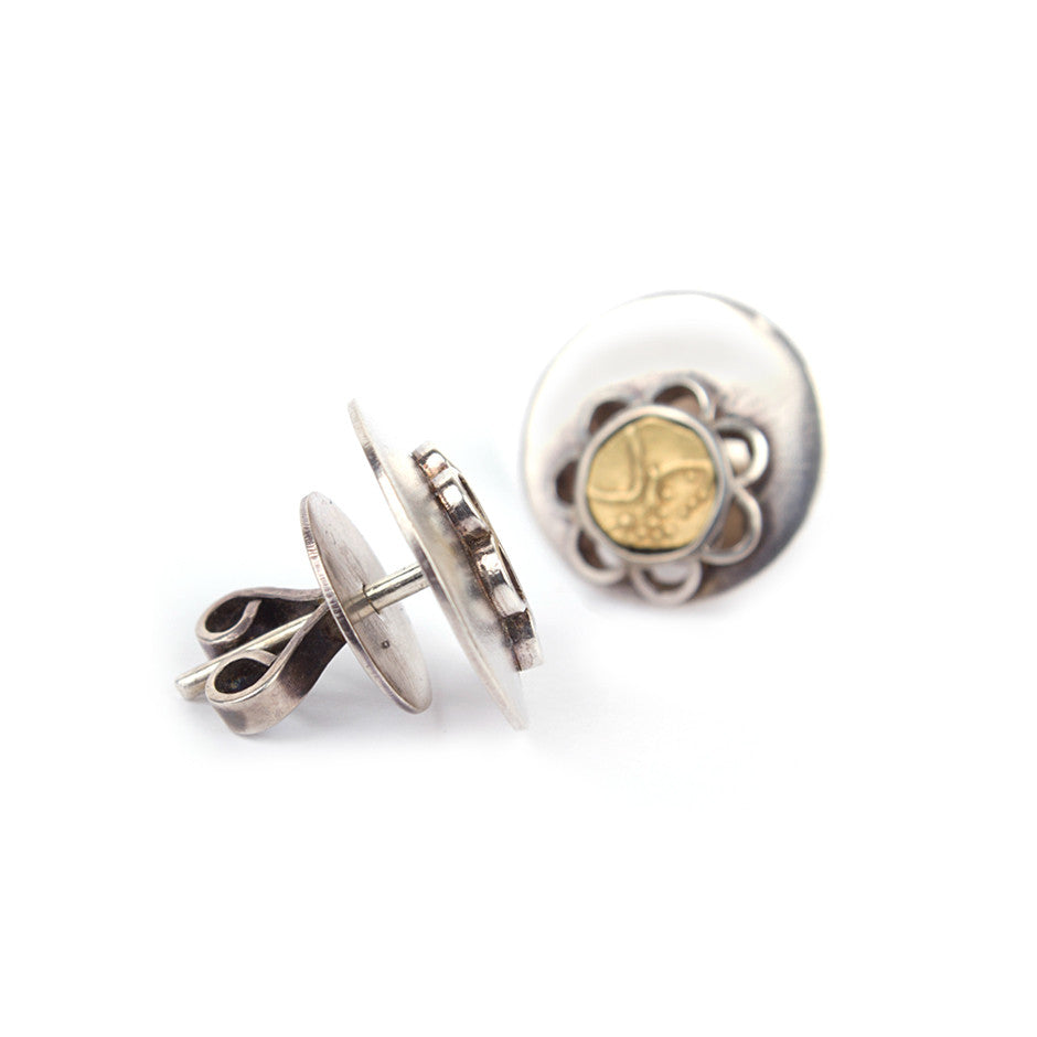 Ahalya Silver & Gold Coin Earrings 0207060009A1 - Screw View
