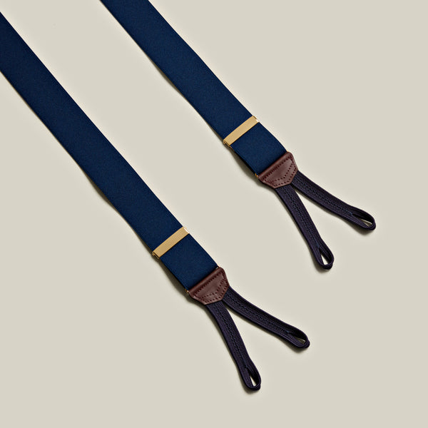Elasticated Solid Braces, Navy