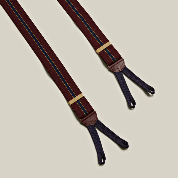 Elasticated Striped Braces, Burgundy