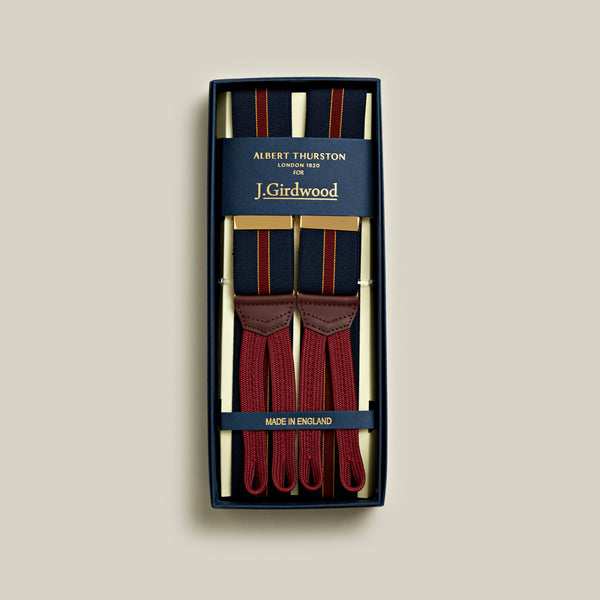Elasticated Striped Braces, Navy
