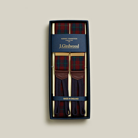Elasticated Tartan Braces, Red