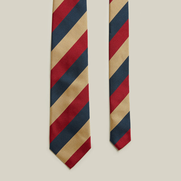 Trad Block Stripe Tie, Navy/Red/Beige