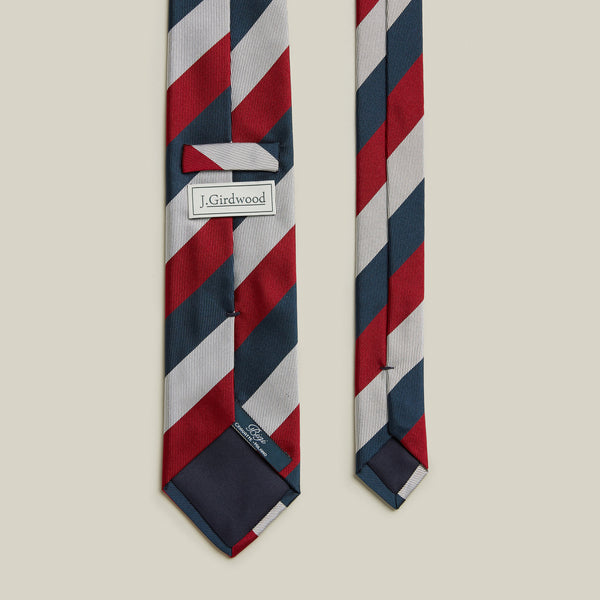 Trad Block Stripe Tie, Navy/Red/Silver