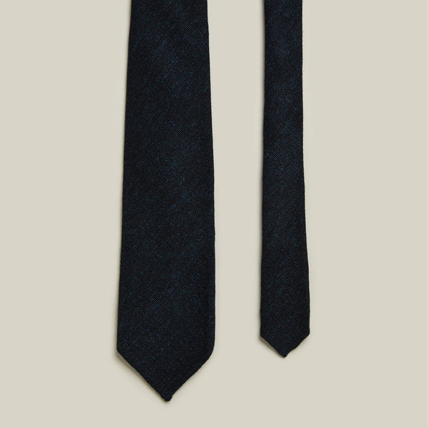 Seven-Fold Tweed Wool Tie, Blue