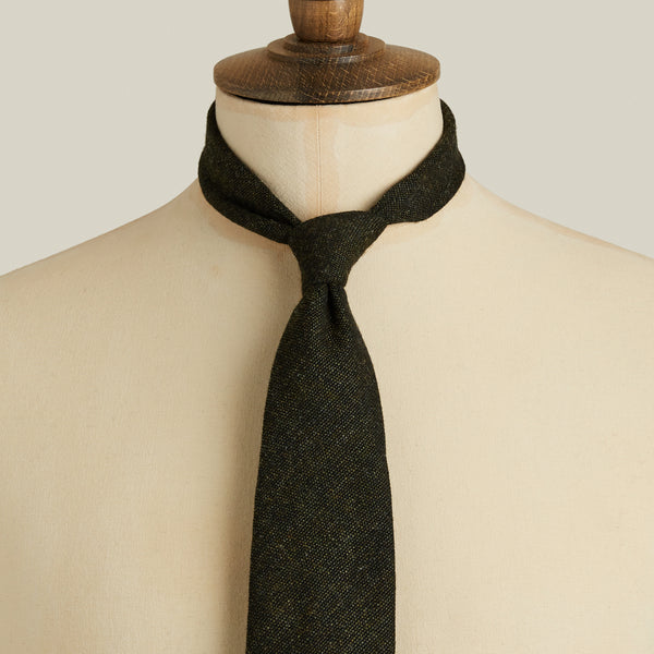 Seven-Fold Tweed Wool Tie, Green