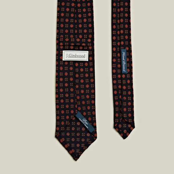 Un-Tipped Wool Motif Tie, Navy
