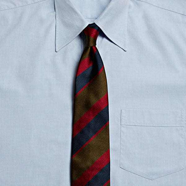Un-Tipped Striped Satin Tie, Green