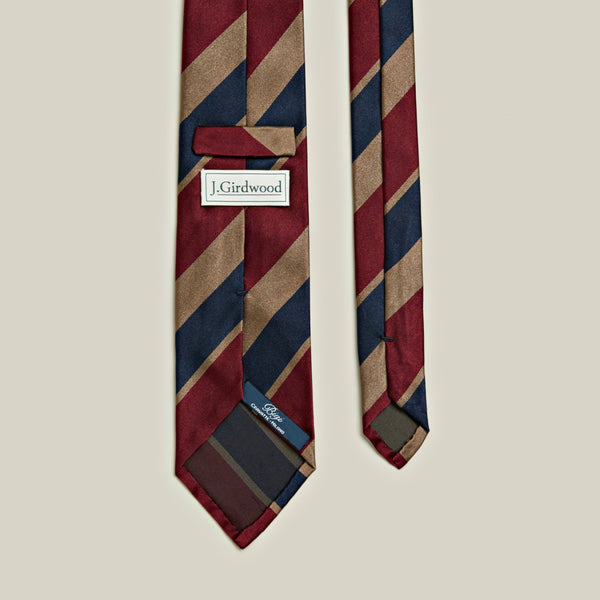 Un-Tipped Striped Satin Tie, Natural