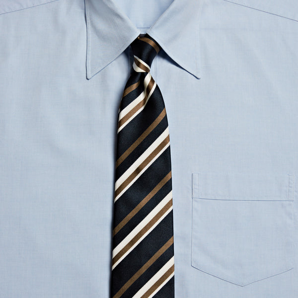 Un-Tipped Striped Tie, Navy