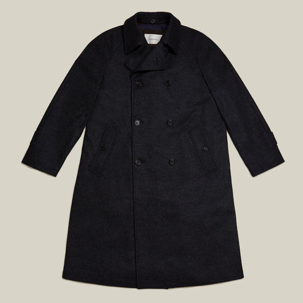 Cohérence Foufou Overcoat - Navy Nailhead Tweed