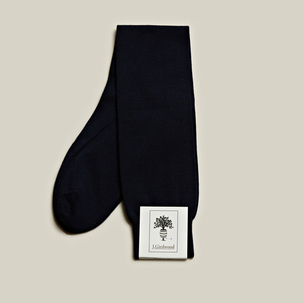 Cotton Long Socks, Navy