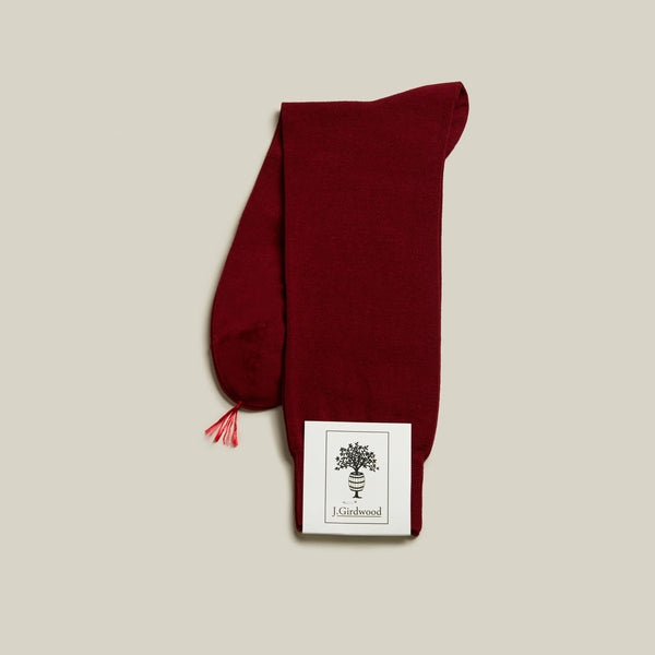 Cotton Mid-Calf Socks, Burgundy