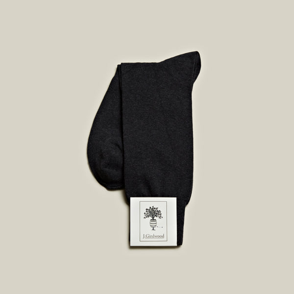 Cotton Mid-Calf Socks, Charcoal