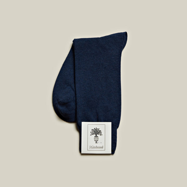 Cotton Mid-Calf Socks, Indigo