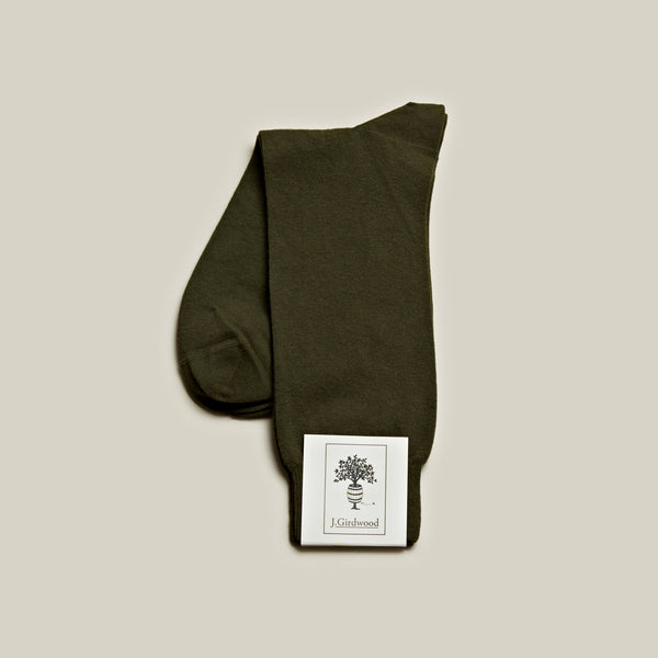 Cotton Mid-Calf Socks, Khaki