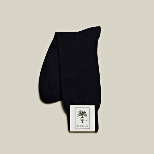 Cotton Mid-Calf Socks, Navy