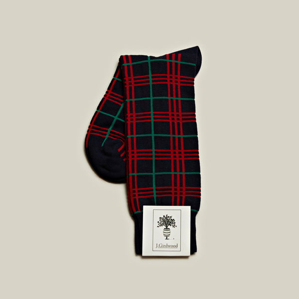 Cotton Mid-Calf Socks, Navy Tartan