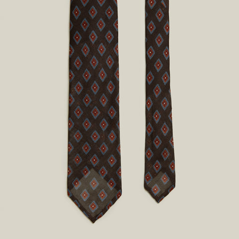 Seven-Fold Grenadine Tie, Brown/Blue Print