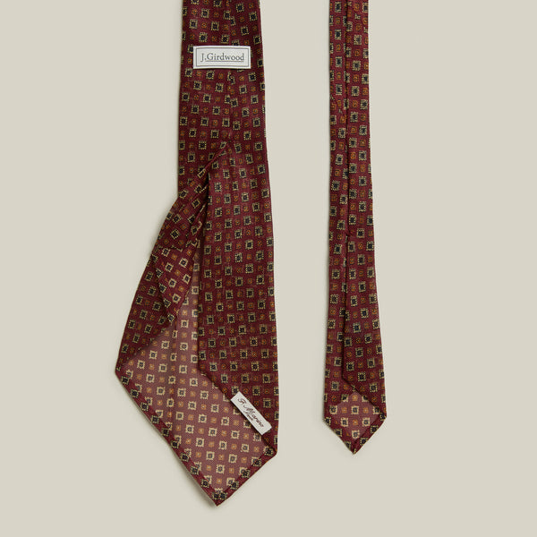Seven-Fold Grenadine Tie, Red/Gold Print
