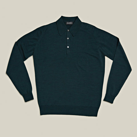 Classic Long Sleeved Merino Polo, Racing Green