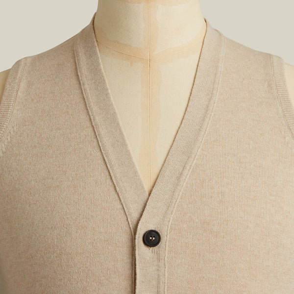 Knitted Cashmere Waistcoat, Natural
