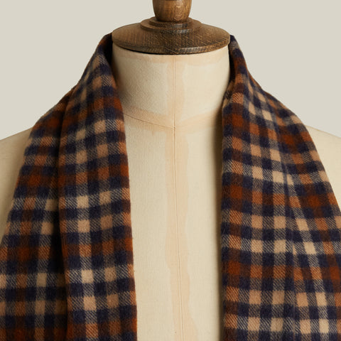 Check Cashmere Scarf, Blue/Tan Shepherd Check