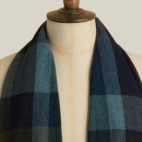 Lightweight Cashmere Scarf, Blue/Green Check