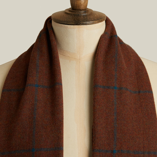 Lightweight Escorial Scarf, Rust/Blue Windowpane