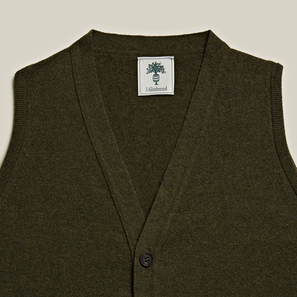 Knitted Cashmere Waistcoat, Loden