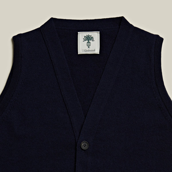 Knitted Cashmere Waistcoat, Navy