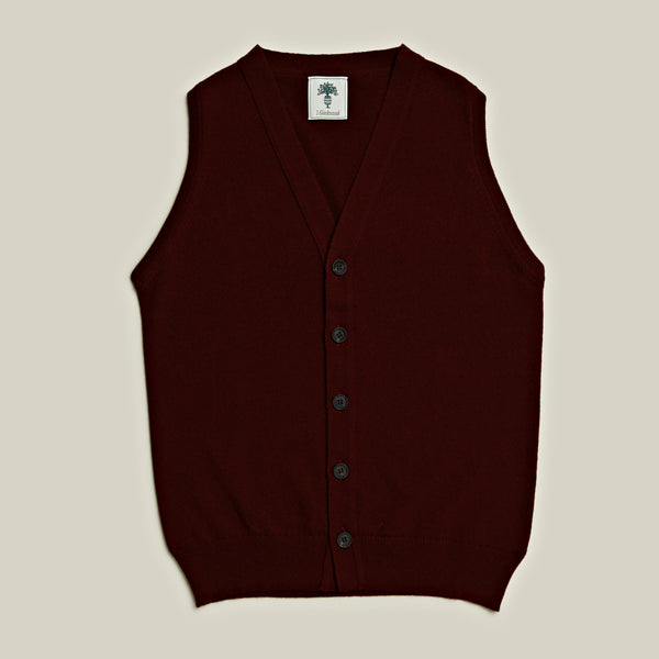 Knitted Cashmere Waistcoat, Burgundy