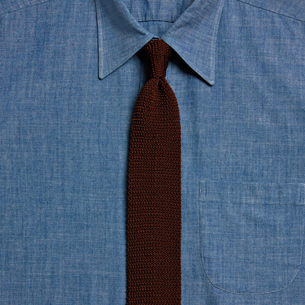 Knitted Silk Tie, Brown