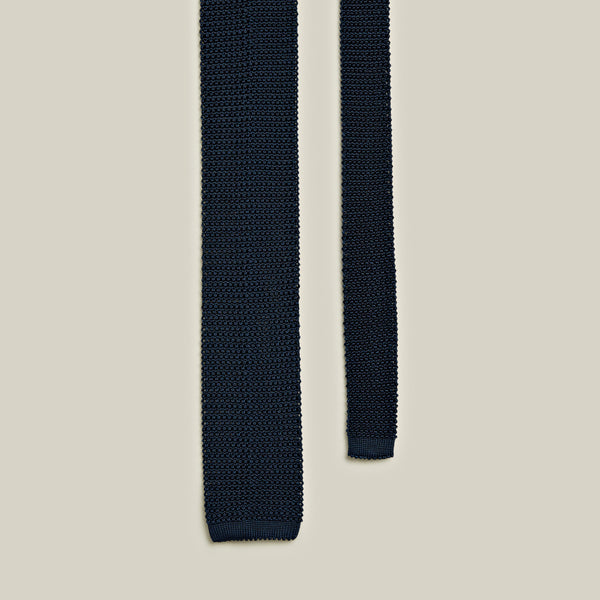 Knitted Silk Tie, Navy